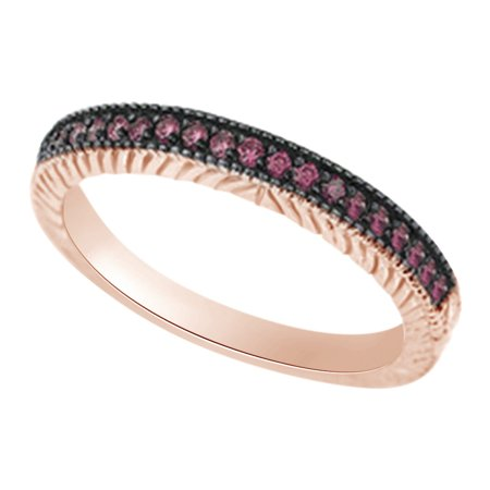 (0.2 cttw) Simulated Pink Sapphire Antique Style Wedding Engagement Ring In 14k Rose Gold With Ring Size