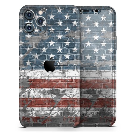 Vintage USA Flag - DesignSkinz Protective Vinyl Decal Wrap Skin Cover compatible with the Apple iPhone XS (Full-Body, Screen Trim & Back Glass Skin)