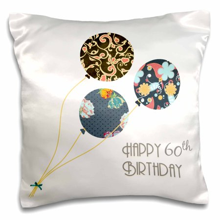 3dRose Happy 60th Birthday - Modern stylish floral Balloons. Elegant black brown blue 60 year old Bday - Pillow Case, 16 by - 60th Bday Decorations