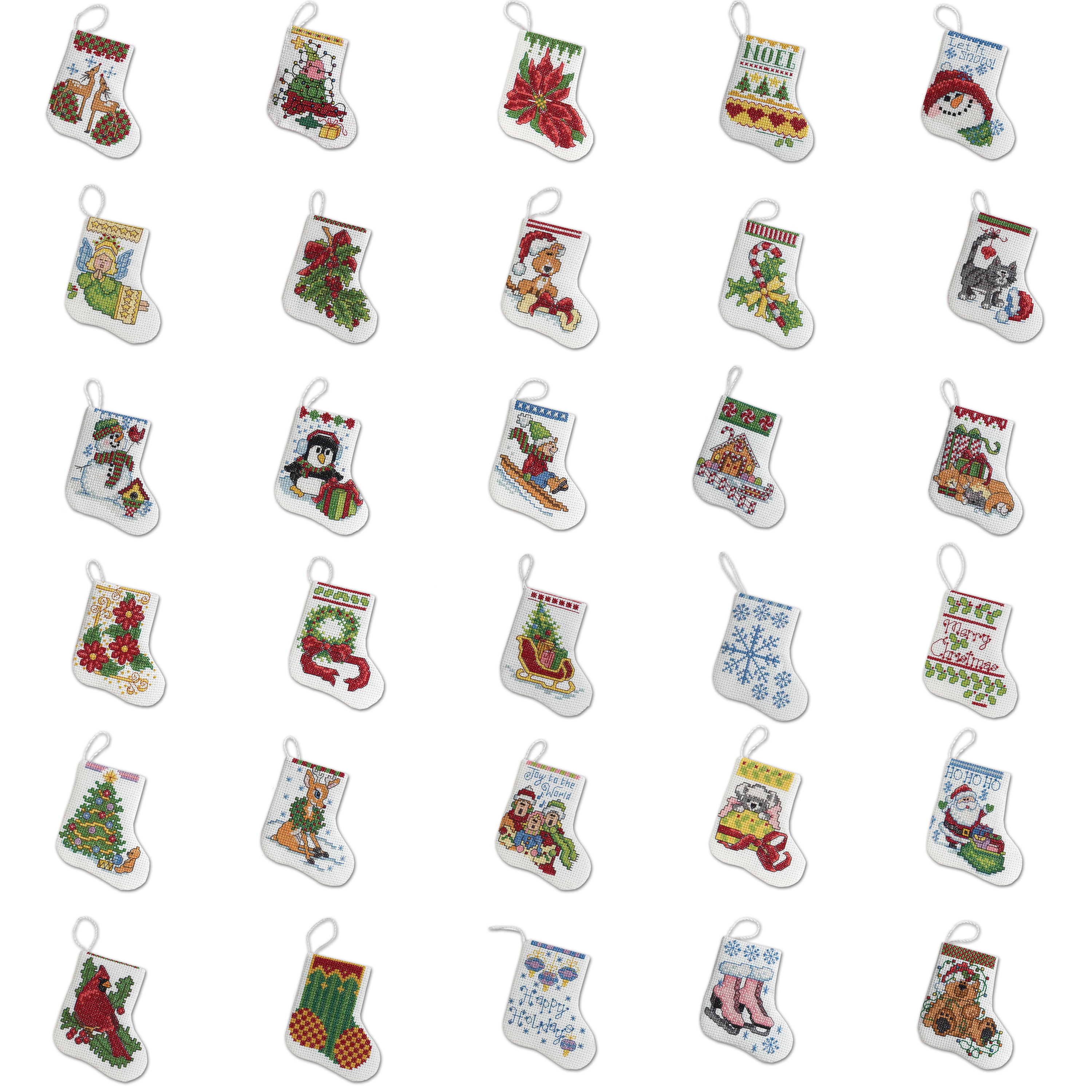 "Bucilla Counted Cross Stitch Ornament Kit by Plaid, More Tiny Stockings, Set of 30,   each approx. 2½"" x 3"""