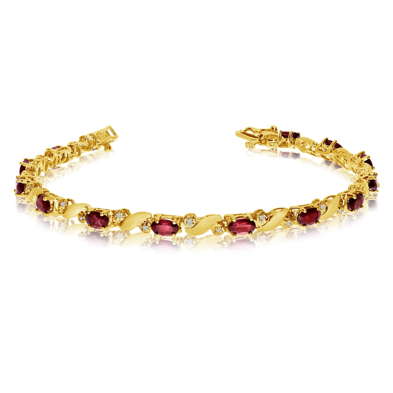14k Yellow Gold Natural Garnet And Diamond Tennis Bracelet by LCD