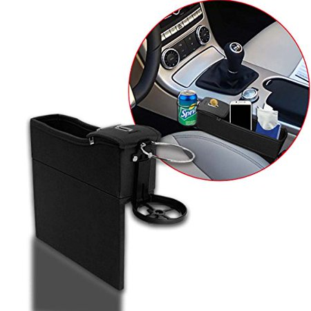 Handy Seat - Zento Deals Driver Side Super Handy Black Car Console Seat Side Coin Holder Cup Holder Storage Organizer –Cellphone, Wallet, Keys and the likes Holder Closer to your Body Box Organizer