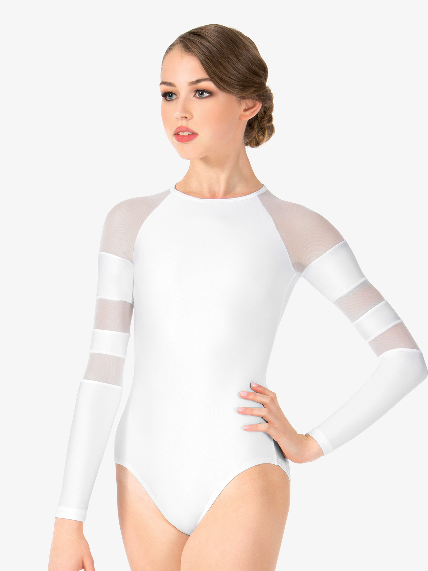 Girls Long Sleeve Mesh Leotard