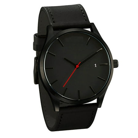 Male Business Casual Quartz Wrist Watch with Leather Watch Strap Gifts Black belt with Black - Black Leather Strap Gift Box