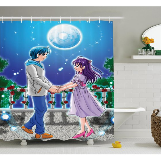 Anime Shower Curtain Ilration Of Holding Hands Under Moonlight Love In Manga Themed