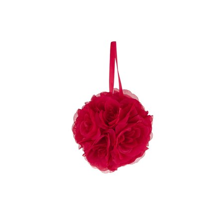 Mega Crafts - Red Artificial Rose Pomander Kissing Ball 6'' | Hanging Ribbon Fabric Flower Décor | Wedding Receptions, Party Decorations, Backdrop Wall, Events, Birthdays & Baby (Red Rose Hanging)
