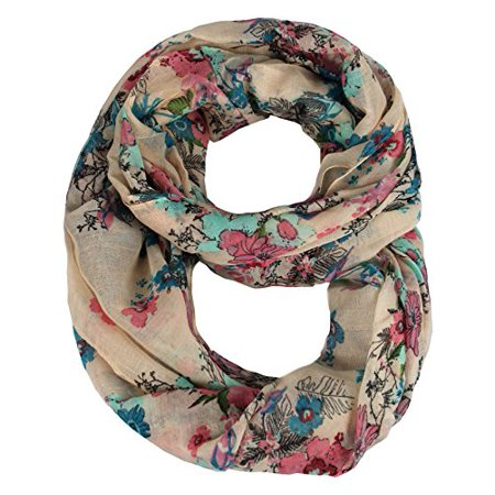 Peach Couture Paint The Town Red Cherry Blossom Floral Print Infinity loop Scarves Peach ()