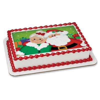 Mr and Mrs Claus Christmas Edible Icing Image for 1/4 sheet cake (Mr And Mrs Claus Outfits)