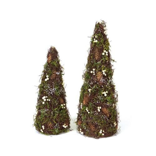 """Pack of 4 Winter Solace Frosty Moss and Berry Christmas Topiary Trees 18.5-24"""""""