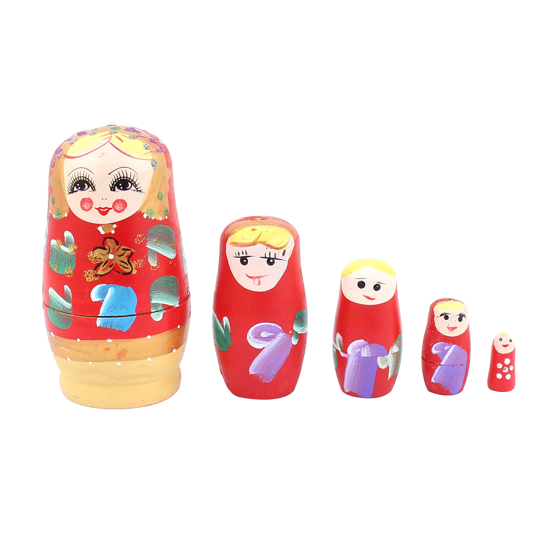 Unique Bargains Russian Babushka Flowers Painted Nesting Matryoshka Doll Red 5 in 1