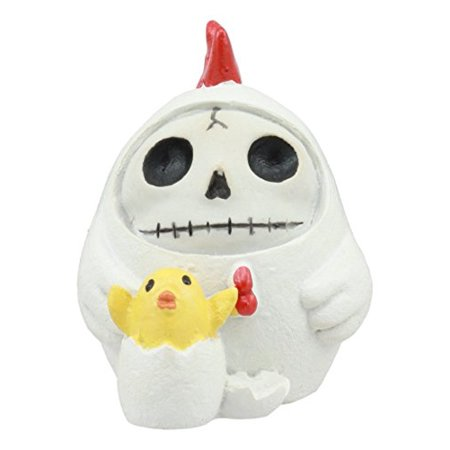 Ebros Furry Bones The White Hen Chicken Nugget Costumed Skeleton Figurine Small Furrybones Chicken With Hatching Chick Collectible