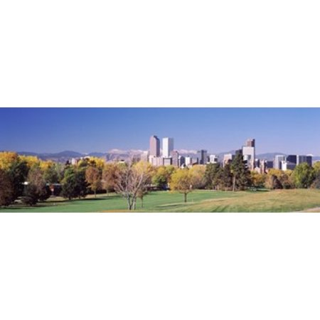 Buildings of Downtown Denver Colorado USA Canvas Art - Panoramic Images (18 x 6) - Halloween Night Downtown Denver