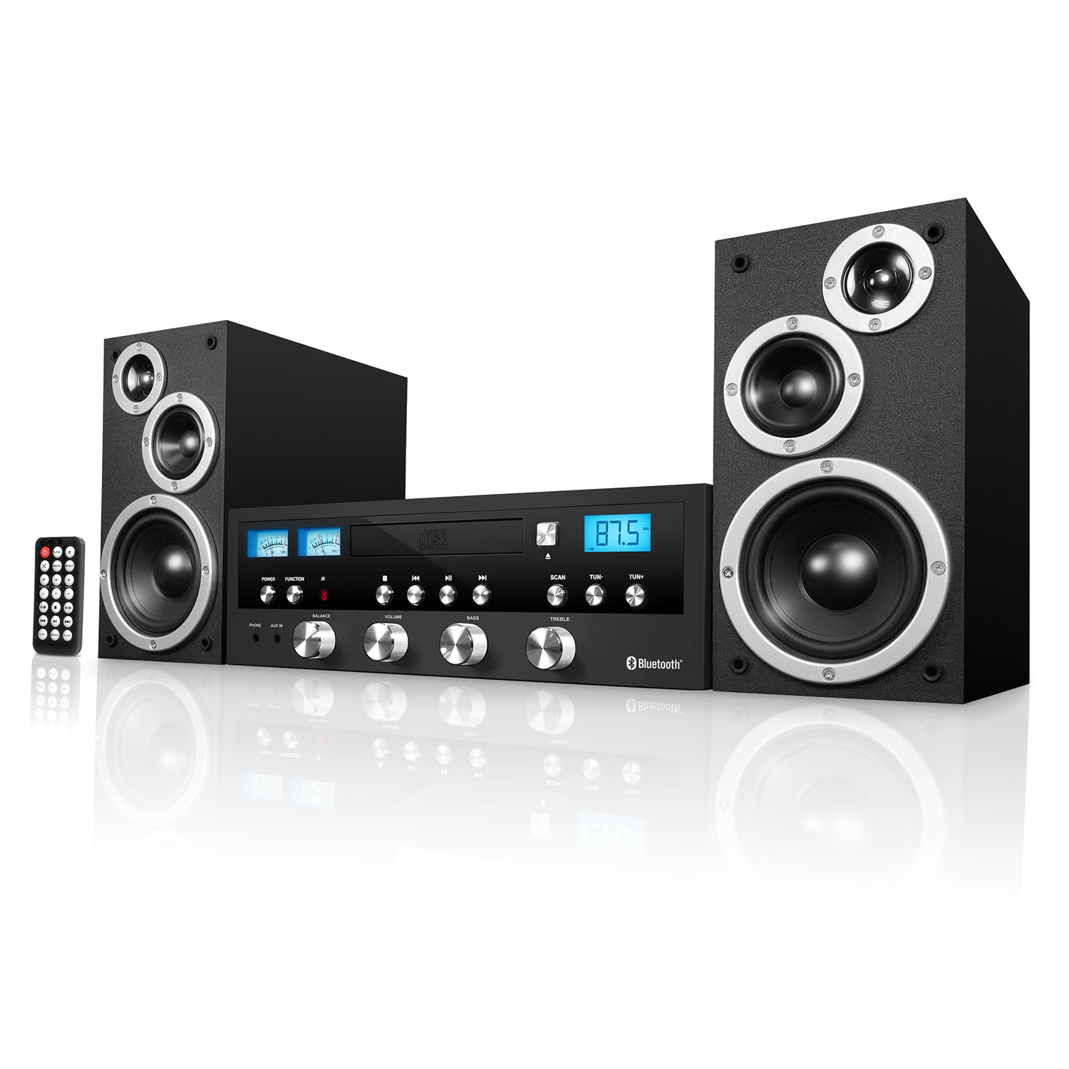 blackweb 50 watt classic cd stereo with bluetooth. Black Bedroom Furniture Sets. Home Design Ideas
