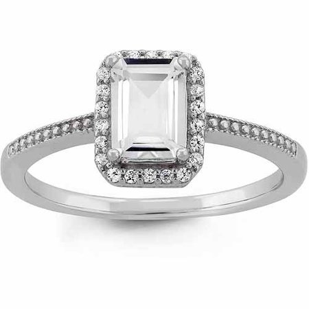 White Topaz And Cz Sterling Silver Emerald Cut Halo Ring