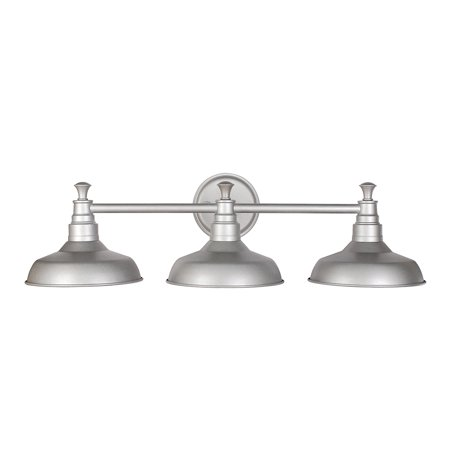 Design House 520312 Kimball 3-Light Vanity Light, Metal Shades, Galvanized
