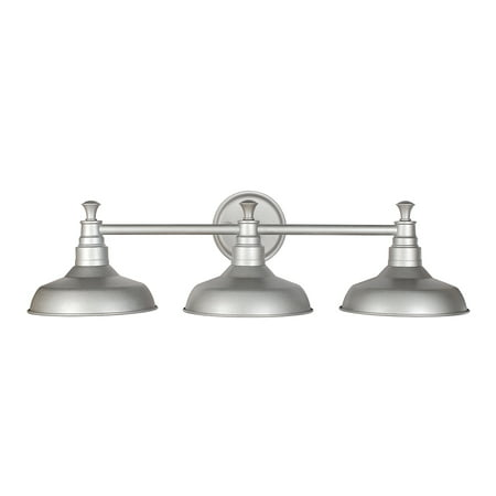 Design House 520312 Kimball 3-Light Vanity Light, Metal Shades, Galvanized Steel