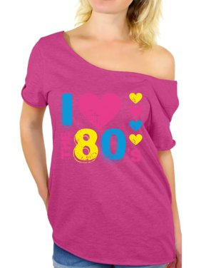 f340803a1 Product Image Awkward Styles 80s T-shirt Off Shoulder Baggy 80s Costumes  Party 80s Tops I Love
