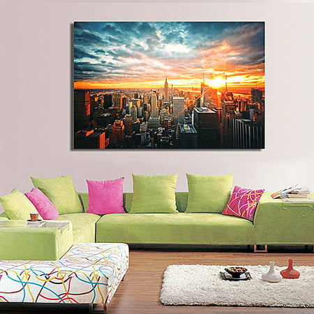 York City Sunset Scape Wall Art Silk Poster Trippy Abstract Cloth Print 90x60cm