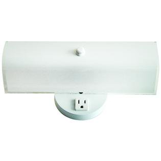 2 Bulb Bath Vanity Light Fixture Wall Mount with Plug-In Receptacle  White