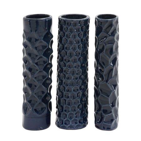 Decmode Set of 3 Coastal 12 Inch Cylindrical Midnight Blue Sculpted Design Ceramic Vases, Midnight -