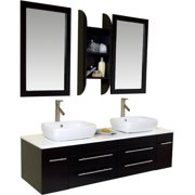 Fresca Stella 59'' Double Bellezza Modern Vessel Bathroom Vanity Set with Mirrors