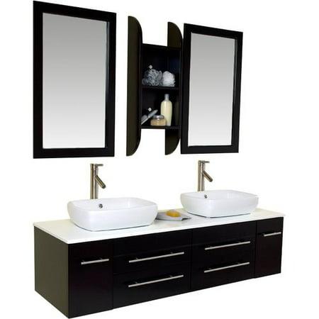 Fresca Stella 59'' Double Bellezza Modern Vessel Bathroom Vanity Set with Mirrors (Hardwood Bathroom Vanity)