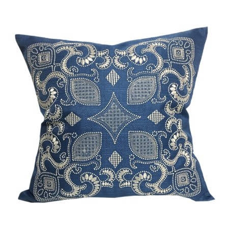 Blue Sapphire Accents (Home Accent  Pillows Sapphire Blue 20-inch Woven Embroidered Throw Pillow)