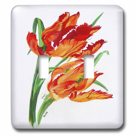 3dRose Parrot Tulips - floral, flower, realism, still life, tulip, tulips,elegant, red, orange, yellow - Double Toggle Switch (lsp_51714_2)