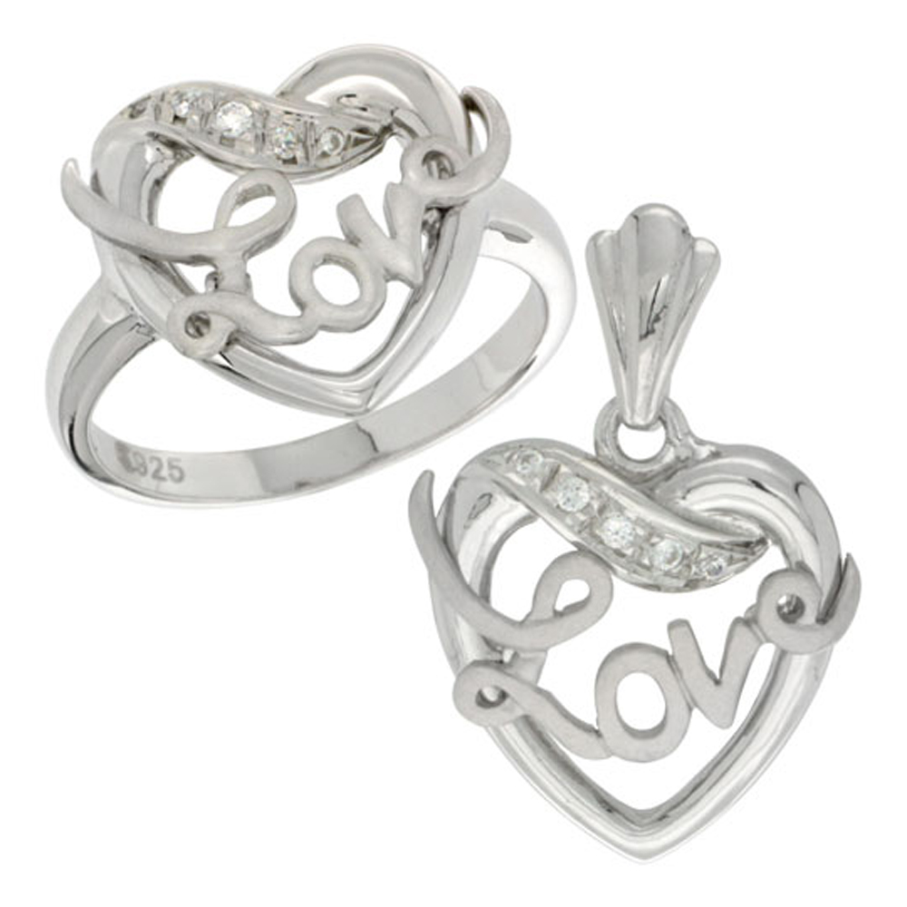 Sterling Silver LOVE Ribbon Ring & Pendant Set CZ Stones Rhodium Finished