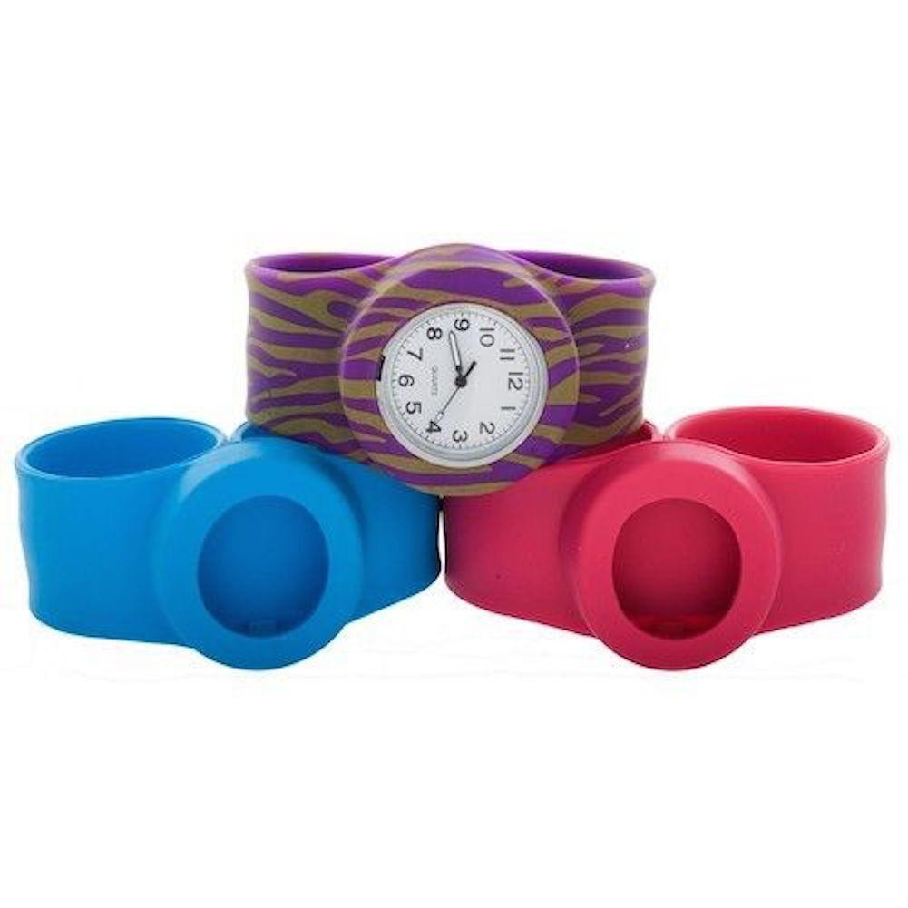 SLCP-JUDVGRZHPLU Slide Kids Watch 3PAQ Purple Zebra, Hot Pink & Light Blue