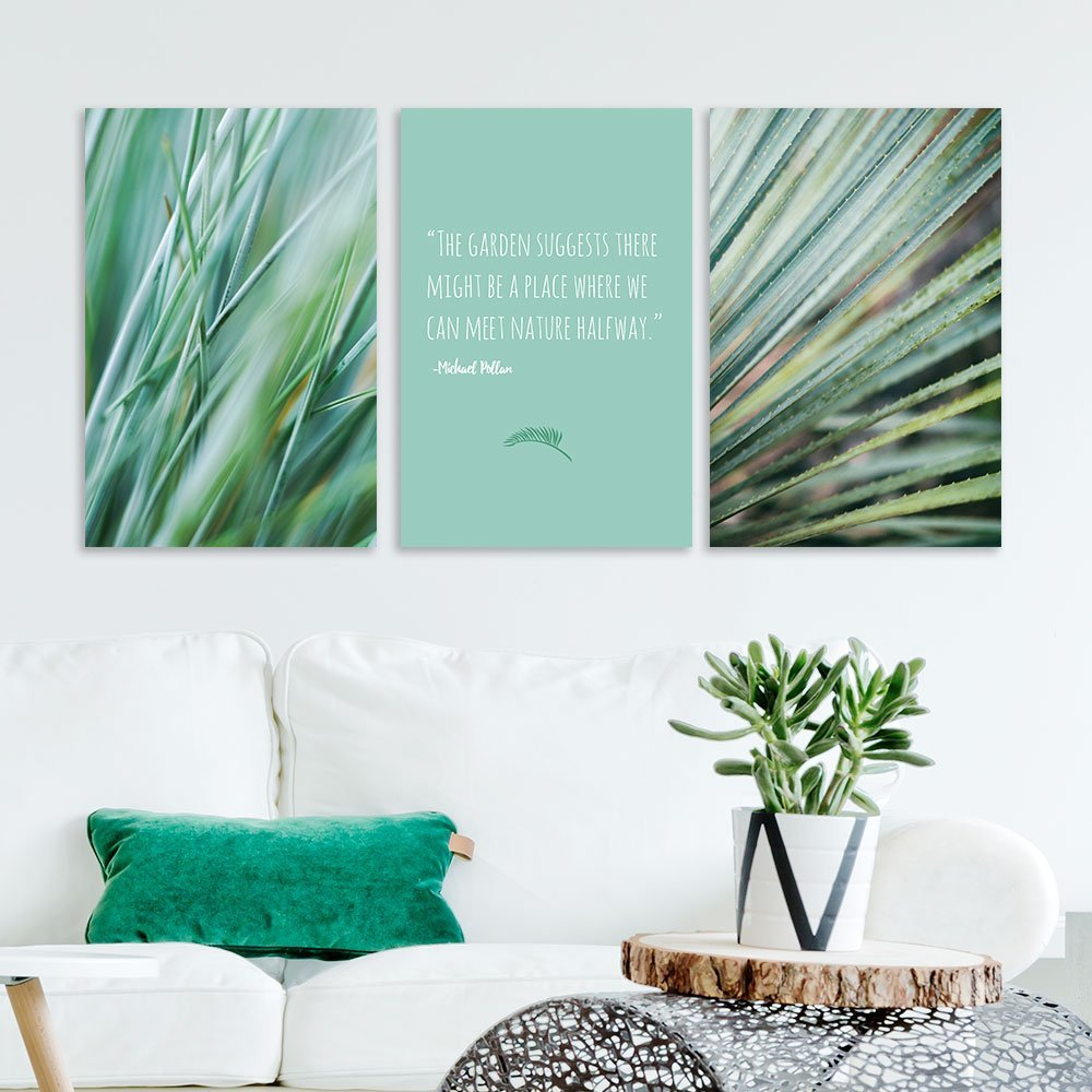 Wall26 3 Panel Canvas Wall Art Green Plants With Inspirational