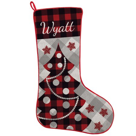 Plaid Christmas Stocking (Personalized Perfectly Plaid Rustic Stocking - Christmas)