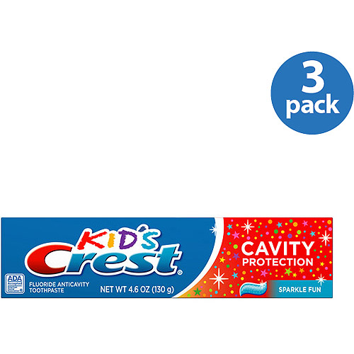 Crest Kid's Cavity Protection Fluoride Toothpaste, Sparkle Fun Flavor, 4.6 oz (Pack of 3)