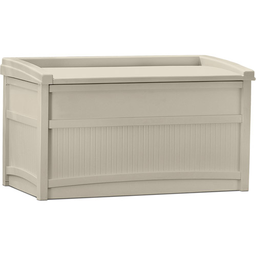 Suncast 50 Gallon Deck Box With Seat, Light Taupe, DB5500