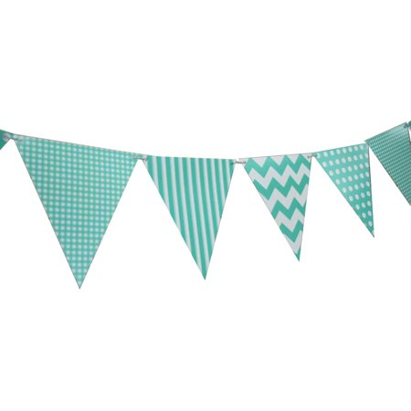 Quasimoon Teal Mix Pattern Triangle Flag Pennant Banner Decoration (11FT) by - Flag Pattern