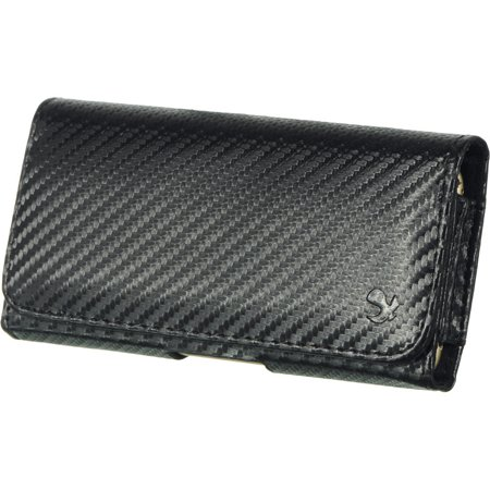 [World Acc] Premium PU Leather Pouch Holster Belt Clip Case For Samsung Galaxy Halo / J7 Perx / J7 Prime / J7 Sky Pro / J7 V (Premium PU Leather Carbon Fiber Print) (Carbon Fiber Cigar Case)