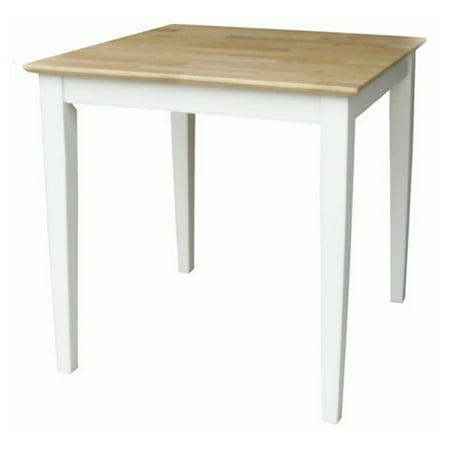 International Concepts Solid Wood Top Table with Shaker Legs, White/Natural - International Concepts Solid Wood