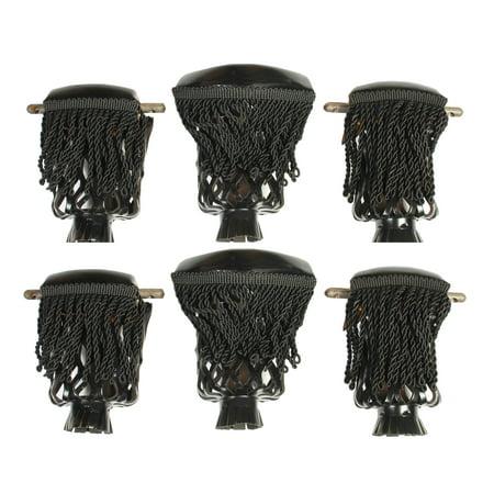 Set Of 6 Pool Table Pockets W Fringe Black Vinyl Billiard