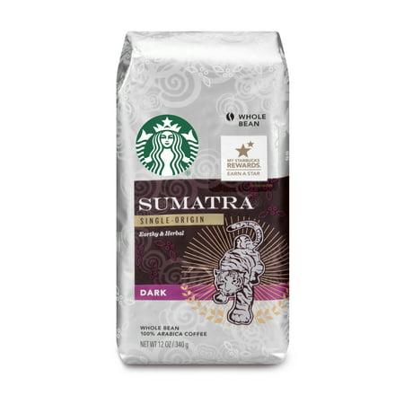 Starbucks Sumatra Dark Roast Whole Bean Coffee, 12-Ounce Bag (Starbucks Iced Coffee Beans)