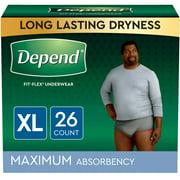 Depend FIT-FLEX Incontinence Underwear for Men, Maximum Absorbency, XL, Grey, 26 Count