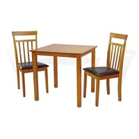 SK New Interiors Dining Kitchen Set of 3 pc Square Table and 2 Classic Wood Chairs Warm, Maple