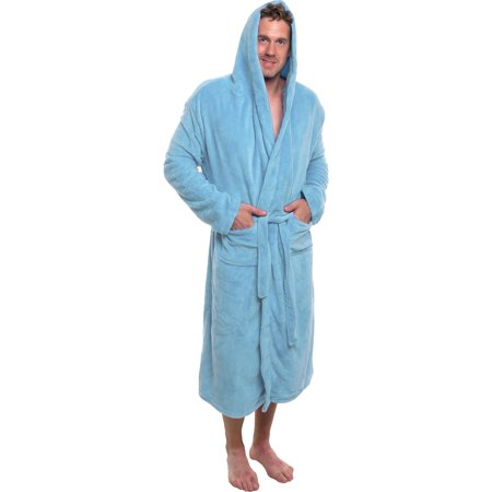 f2f2434d32 Ross Michaels - Ross Michaels Mens Plush Shawl Kimono Hooded Bath Robe  (Light Blue