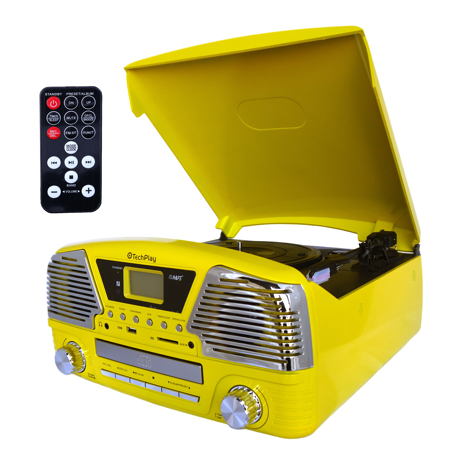 TechPlay 3 Speed Turntable, Programmable MP3 CD Player, USB/SD, Radio and Remote Controll in Yellow