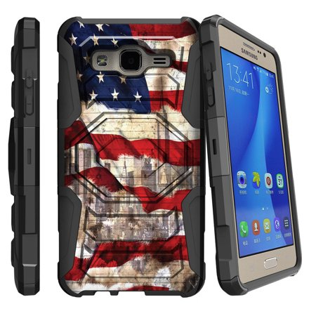 Samsung Galaxy On5 Case | Galaxy On5 Phone Case [ Armor Reloaded ] Extreme Rugged Cell Phone Cover with Kickstand and Belt Clip - American Flag NY