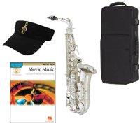 Movie Music Silver Alto Saxophone Pack - Includes Alto Sax w/Case & Accessories, Movie Music Play Along Book