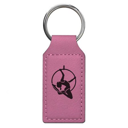 Keychain - Aerial Hoop - Personalized Engraving Included (Pink Rectangle)