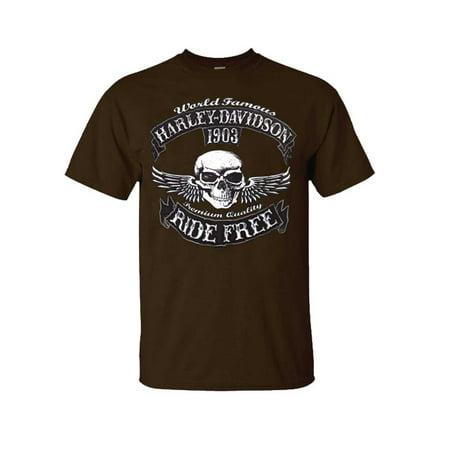 Harley-Davidson Men's Bad Manners Winged Skull Short Sleeve T-Shirt, Dark Brown, Harley