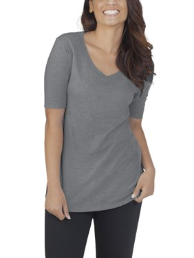Fruit of the Loom Women's Athleisure Essentials Soft Elbow Length V-Neck T-Shirt