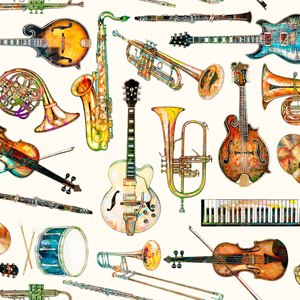 Quilting Treasures Fine Tuning by Dan Morris Instrument Toss Eggshell