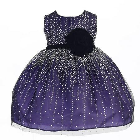 Crayon Kids Baby Girls Purple Velvet Flower Sash Sequin Dress 6-9M